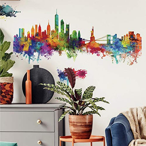RoomMates New York City Watercolor Skyline Peel and Stick Giant Wall Decals