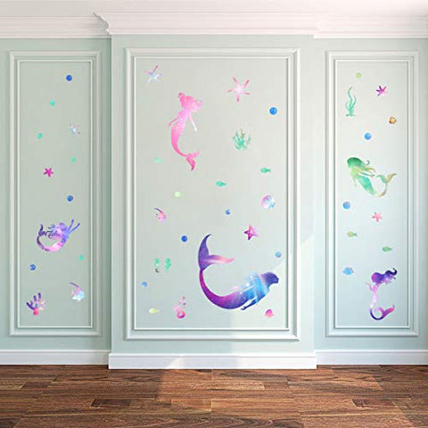 Mozamy Creative Mermaid Wall Decals Girls Wall Decals Girls Bedroom Wall Decor Bathroom Mermaid Decals Peel and Stick Wall Decals