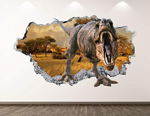 "West Mountain Wild Dinosaur Wall Decal Art Decor 3D Smashed T-Rex Sticker Poster Kids Room Mural Custom Gift BL336 (22"" W x 14"" H)"