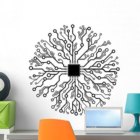 "Wallmonkeys FOT-81020699-24 WM251891 Vector Circuit Board Abstract Peel and Stick Wall Decals H x 24 in W, 24"" 24"" W-Medium"