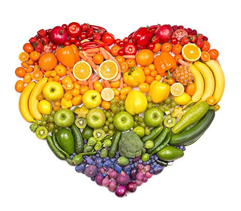 Wallmonkeys FOT-73421875-24 WM222314 Rainbow Heart of Fruits and Vegetables Peel and Stick Wall Decals (24 in W x 21 in H), Medium