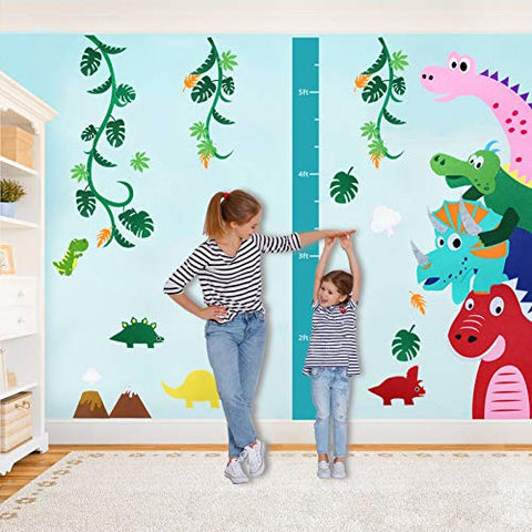 Kids Dinosaur Wall Decals for Boys Girls Room, Felt Dinosaur Wall Stickers with Growth Chart Ruler for Baby Bedroom, Nursery Decor, Playroom