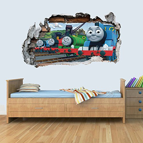 Train Friends 3D Smashed Wall Art Decal Vinyl Sticker Boys Girls Bedroom Trains S
