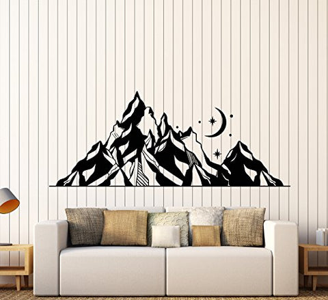 Vinyl Wall Decal Mountains Landscape Moon Star Art Nature Stickers Large Decor (1310ig) Grey