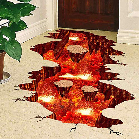 Creative 3D Space Wall Decals Removable PVC Magic Floor Flame and Lava Wall Stickers Murals Wallpaper Art Decor for Home Walls Ceiling Boys Room Kids Bedroom Nursery School