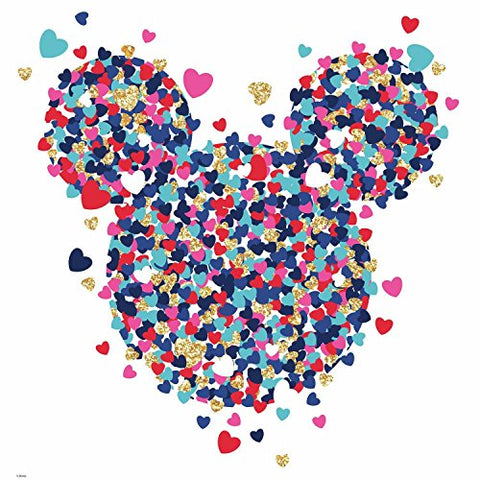 Minnie Mouse Heart Confetti Peel And Stick Giant Wall Decals With Glitter