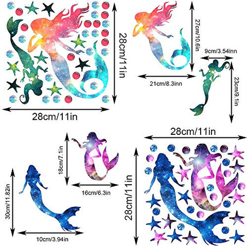 2 Pieces Starry Sky Mermaid Wall Decals Stickers PVC Girls Wall Decals with Mermaid Starfish Ocean Theme Decoration Creative Mermaids Decorative Peel and Stick Wall Decals for Nursery Bathroom
