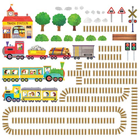 Trains and Tracks Kids Wall Decals Wall Stickers Peel and Stick Removable Wall Stickers for Kids Nursery Bedroom Living Room