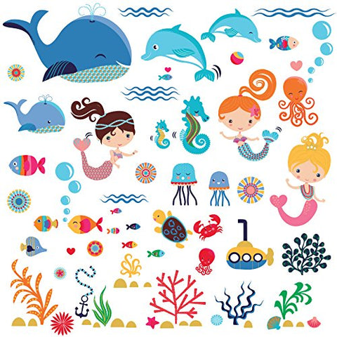 Playful Mermaids Decorative Peel & Stick Wall Art Sticker Decals for Kids Room Girls Room Nursery