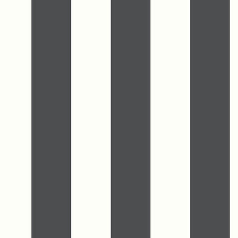 AWNING STRIPE BLACK PEEL & STICK WALLPAPER