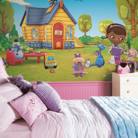 DOC MCSTUFFINS CHAIR RAIL PREPASTED MURAL 6' X 10.5' - ULTRA-STRIPPABLE