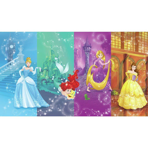 DISNEY PRINCESS SCENES XL CHAIR RAIL PREPASTED MURAL 6' X 10.5' - ULTRA-STRIPPABLE