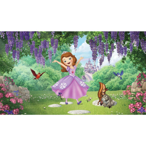 SOFIA THE FIRST - FRIENDS GARDEN XL CHAIR RAIL PREPASTED MURAL 6' X 10.5' - ULTRA-STRIPPABLE