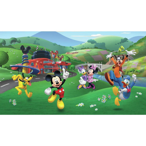 MICKEY AND FRIENDS ROADSTER RACER XL CHAIR RAIL PREPASTED MURAL 6' X 10.5' - ULTRA-STRIPPABLE