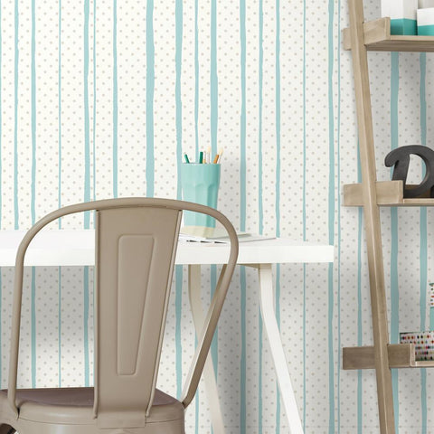 ALL MIXED UP SILVER/TEAL PEEL & STICK WALLPAPER