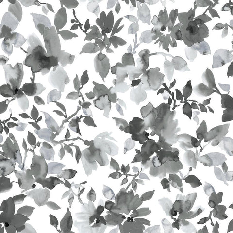 BLACK WATERCOLOR FLORAL PEEL & STICK WALLPAPER