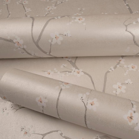 BEIGE CHERRY BLOSSOM PEEL & STICK WALLPAPER