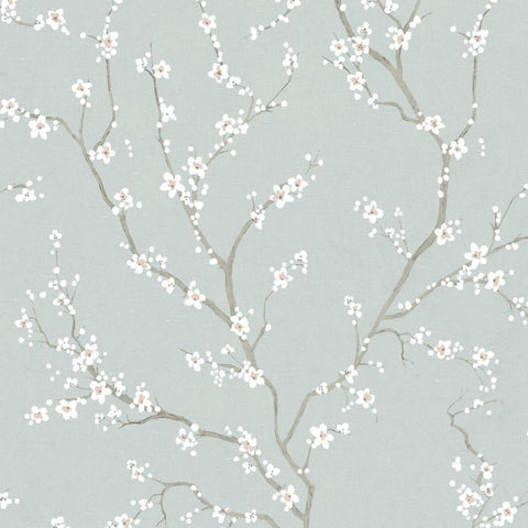 BLUE CHERRY BLOSSOM PEEL & STICK WALLPAPER