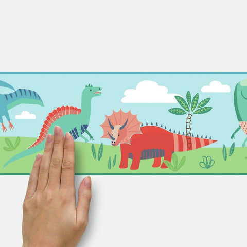 DINOSAUR PARADE PEEL & STICK WALLPAPER BORDER