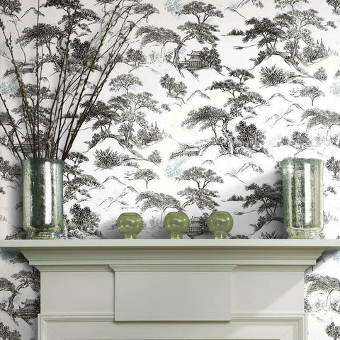 ORIENTAL TOILE PEEL & STICK WALLPAPER