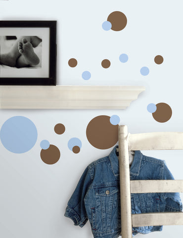 Just Dots Blue/Brown Peel & Stick Wall Decals image