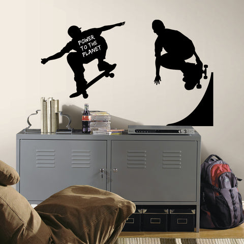 Chalkboard Skaters Chalk Peel & Stick Wall Decals image