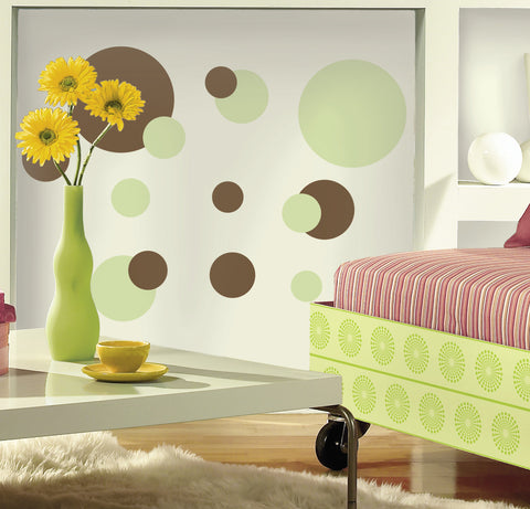 Just Dots Green/Brown Peel & Stick Wall Decals image