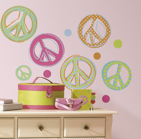 Peace Signs Peel & Stick Wall Decals - Glitter image