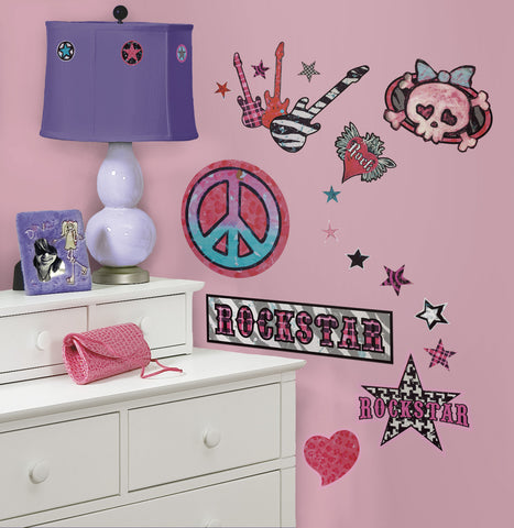 Girls Rock-n-Roll Peel & Stick Wall Decals image