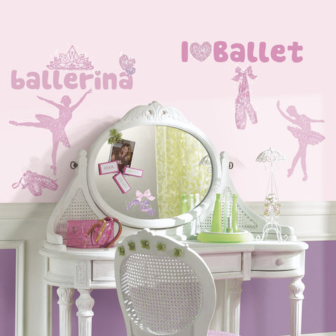 Ballet Peel & Stick Wall Decals w/Glitter image