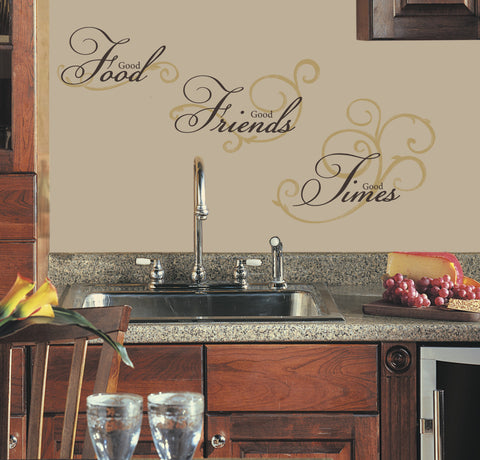 Good Food Good Friends Good Times Peel & Stick Wall Decals image