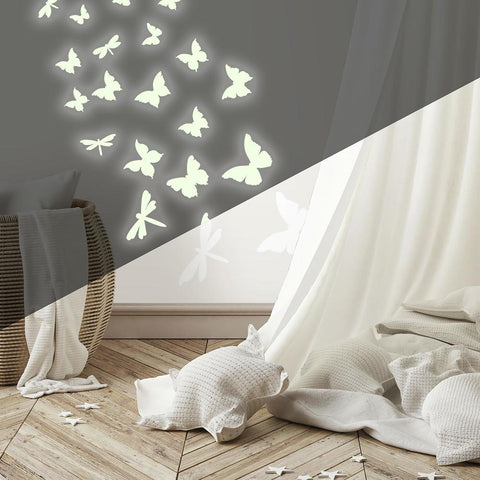 BUTTERFLIES & DRAGONFLIES GLOW IN THE DARK WALL DECALS
