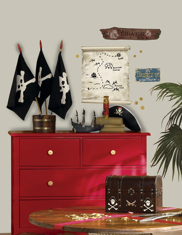 Pirates Map & Signs Peel & Stick Giant Wall Decals image