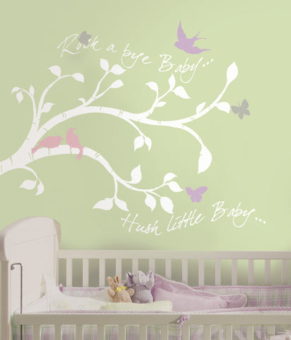 Rock-a-bye Bird Branch Peel & Stick Giant Wall Decals image