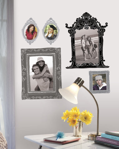 Metallic Black & Silver Frames Peel & Stick Giant Wall Decals image