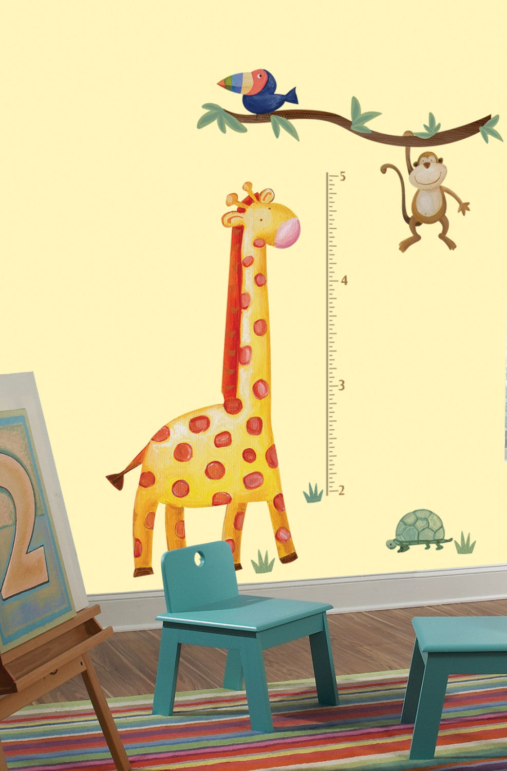 Jungle Adventure Giraffe Peel Stick Growth Chart Walldecals