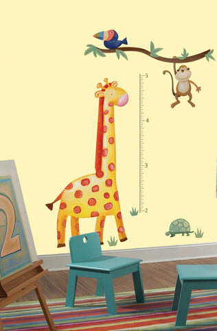 Jungle Adventure Giraffe Peel & Stick Growth Chart image