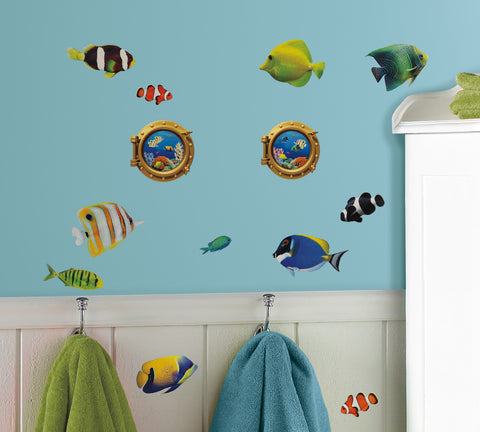 Fish Wall Decals with Lenticular Port Hole Peel & Stick Wall Decals image