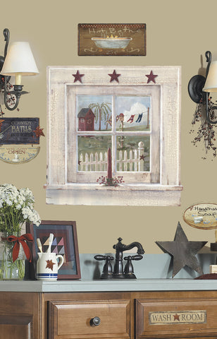 Outhouse Window and Signs Peel & Stick Giant Wall Decal image