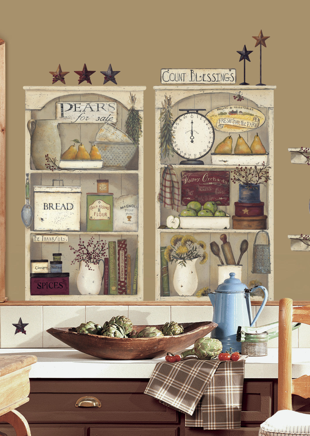 Country Kitchen Shelves Peel Stick Giant Wall Decals