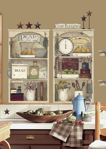 Country Kitchen Shelves Peel & Stick Giant Wall Decals image