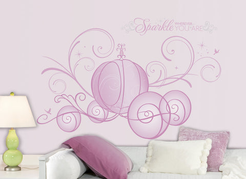 Disney Princess  - Scroll Carriage Peel & Stick Giant Wall Decals w/Glitter