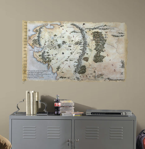The Hobbit Middle Earth Map Peel & Stick Giant Wall Decals