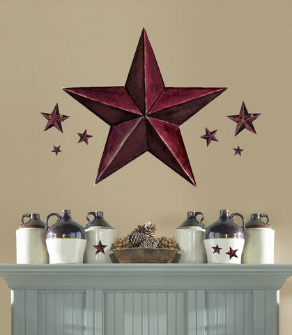 Barn Star Peel & Stick Giant Wal Decal - Burgundy image