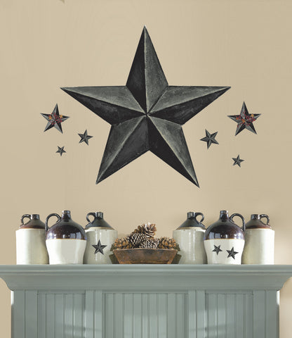 Barn Star Peel & Stick Giant Wal Decal - Slate image