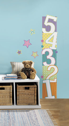 Patterned Numbers Peel and Stick Growth Chart Wall Decals image