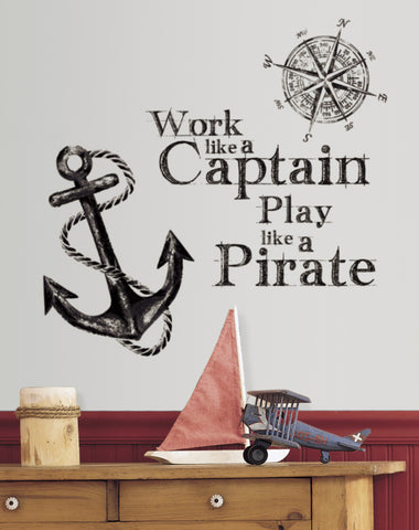 Work Like a Captain Quote Peel and Stick Wall Decals image