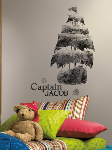 Personalized Captain Peel and Stick Giant Wall Decals image