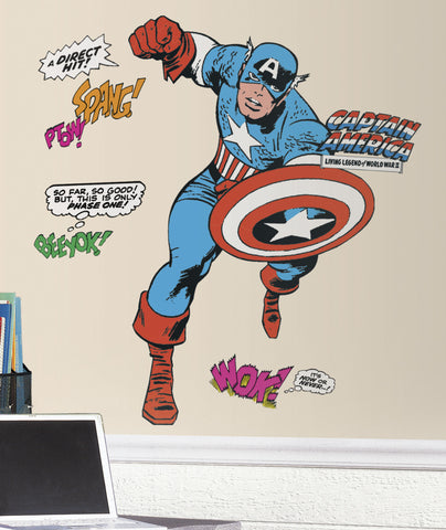 Marvel Classic Captain America Peel and Stick Giant Wall Decals