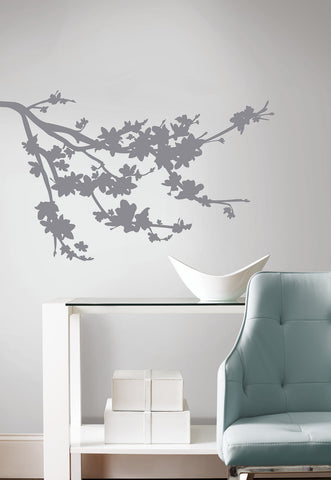 Gray Silhouette Blossom Branch Peel and Stick Wall Decals image